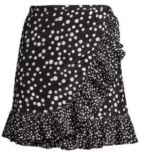 Rixo Mia Polka Dot Wrap Mini Skirt