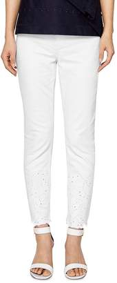 Ted Baker Marriaa Embroidered Skinny Jeans in White