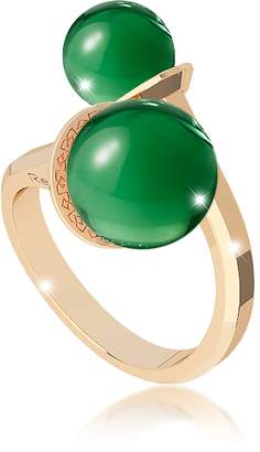 Rebecca Boulevard Stone Yellow Gold Over Bronze Contrarie Ring w/Hydrothermal Green Stones