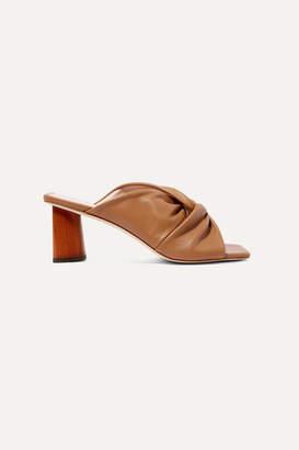 REJINA PYO Naomi Knotted Leather Mules - Tan