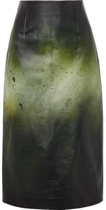 Calvin Klein Printed Glossed-leather Midi Skirt - Green