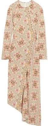 Vilshenko Karoline Wrap-effect Floral-print Silk-twill Midi Dress - Cream