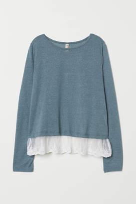 H&M Lace-hem Top - Turquoise