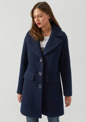 Emporio Armani Single-Breasted Coat In Boucle Fabric
