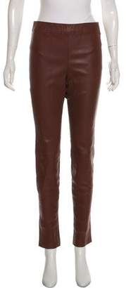 Theory Leather Mid-Rise Skinny Pants