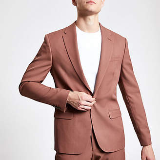 River Island Brown twill skinny suit jacket