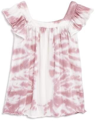 Chaser Girls' Flutter-Sleeve Tie-Dye Cotton Top - Little Kid, Big Kid