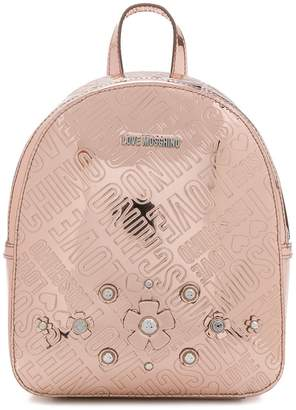 Love Moschino embossed floral logo mini backpack