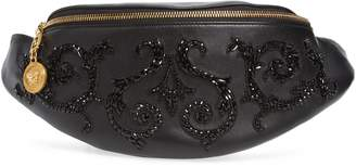 Versace Crystal Embellished Leather Belt Bag
