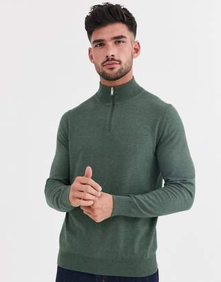 Burton Menswear half zip jumper in green