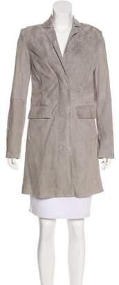 Halston Suede Knee-Length Coat