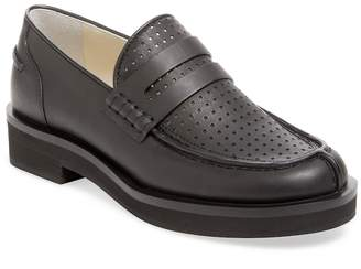 Jil Sander Navy Women's Perforated Leather Penny Loafer