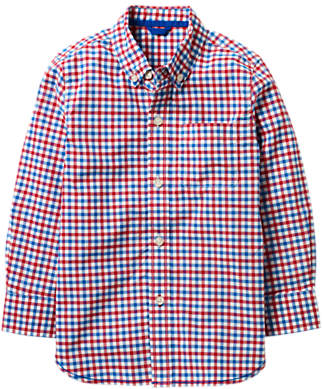 Mini Boden Boys' Laundered Check Shirt, Red