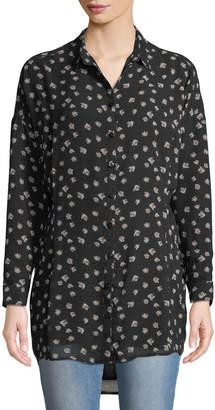Ash Rain+Oak Floral Print Button-Front Shirt