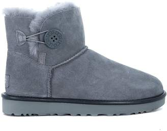 UGG Mini Bailey Button Grey Sheepskin Ankle Boots