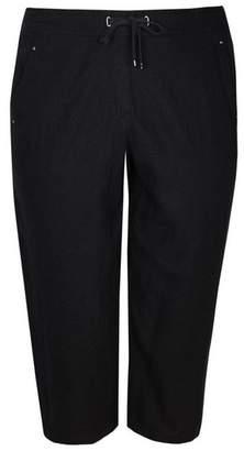 Evans Black Linen Cropped Trousers