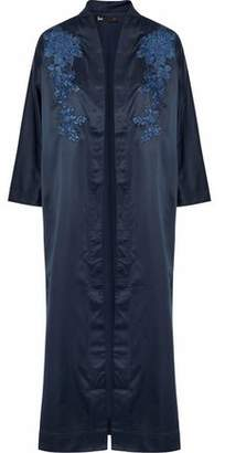 3x1 Cherry Blossom Floral-Embroidered Satin Kimono