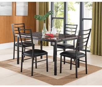 Pilaster Designs Maxen 5 Piece Black Metal & Faux Marble Top Rectangle Contemporary Kitchen Dinette Dining Table & 4 Side Chairs Set