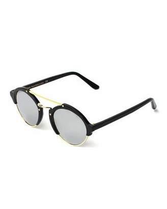 Illesteva Milan II Round Mirrored Sunglasses, Black/Silver $300 thestylecure.com