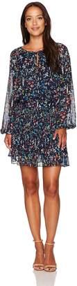 Tahari by Arthur S. Levine Women's Petite Pettite Long Sleeve Blouson Printed Dress
