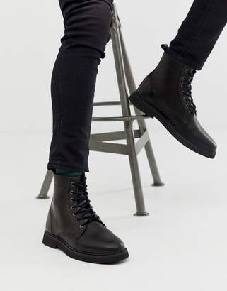 Asos Design DESIGN lace up boots in black leather with chunky sole