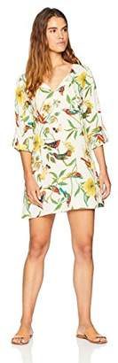 Oasis Wild Beachwear Women's Safi Tunic Printed Dress with Roll-Up Sleeve with Button Detail and Neck Ties
