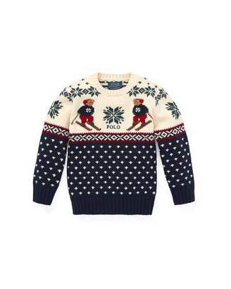 Ralph Lauren Fair Isle Bear Intarsia Sweater, Size 2-4