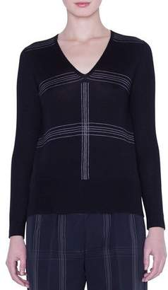 Akris V-Neck Cashmere-Silk Check-Intarsia Sweater