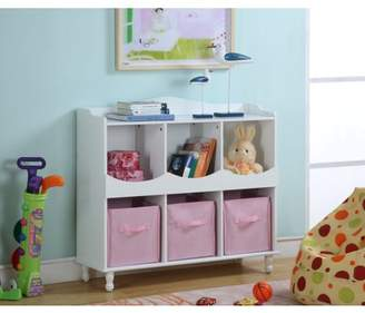 Pilaster Designs Marie White & Pink Wood Kids Storage Cubby Display Cabinet With Shelves & Fabric Bins