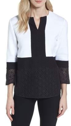 Ming Wang Knit & Lace Tunic