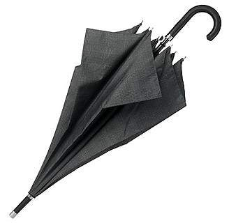 HUGO BOSS Grey patterned umbrella with faux-leather hook handle