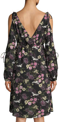 Kensie Floral-Print Cranes Cold-Shoulder Shift Dress