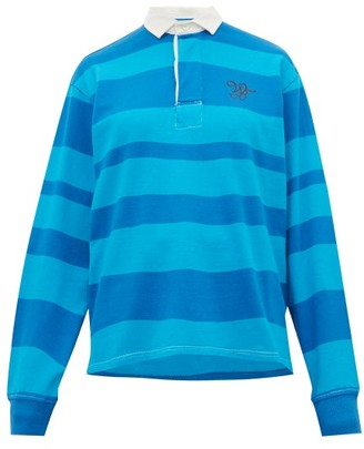 Wales Bonner Logo Embroidered Striped Cotton Rugby Polo Shirt - Womens - Blue