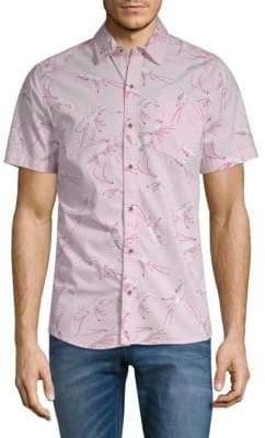 Shrimp-Print Short-Sleeve Cotton Button-Down Shirt