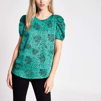 River Island Womens Green print puff sleeve top