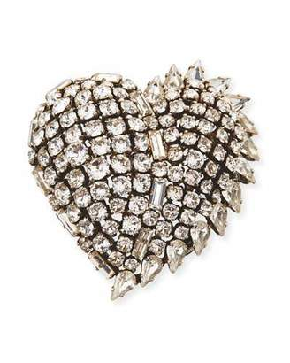 Saint Laurent Heart Crystal Fringe Pin hbtpaY
