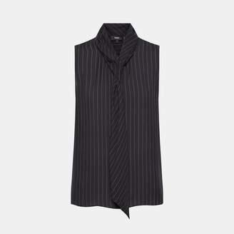 Theory Silk Striped Draped Tie Shell