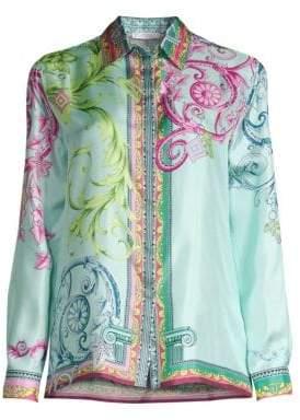 Versace Cindy Ferris Print Silk Long-Sleeve Blouse