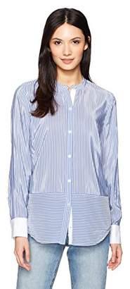 Nautica Women's Long Sleeve Striped Collarless Button Down Shirt