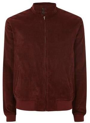 Topman Mens Red Rust Corduroy Harrington Jacket