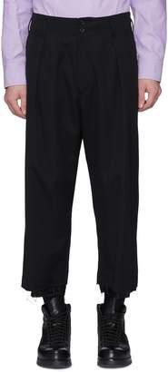 Sulvam Raw cuff pleated wool twill pants