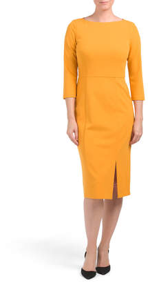 Boat Neck Dress With Front Slit