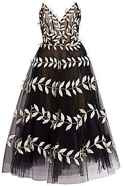 Oscar de la Renta Women's Fern-Embroidered Strapless V-Neck Tulle A-Line Dress