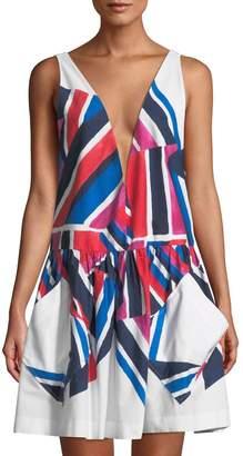 Milly Deep-V Neck Geometric Poplin Mini Dress