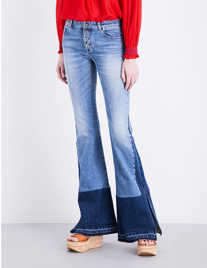 Roberto CavalliRoberto Cavalli Released-hem flared high-rise jeans