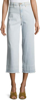 Veronica Beard Ali High-Waist Gaucho Jeans with Released Hem