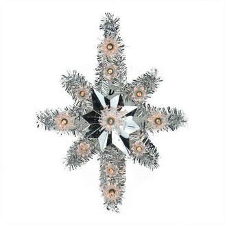 Asstd National Brand 11 Lighted Silver Tinsel Star of Bethlehem Christmas Tree Topper - Clear Lights
