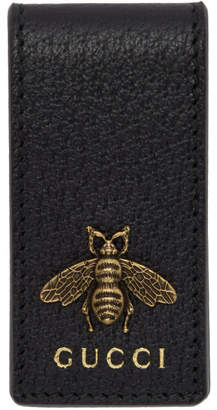 Gucci Black Leather Animalier Money Clip