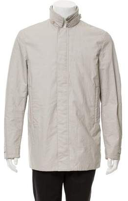 Calvin Klein Collection Linen Blend Mock Neck Jacket