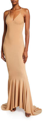 Norma Kamali V-Neck Low-Back Mermaid Fishtail Slip Gown